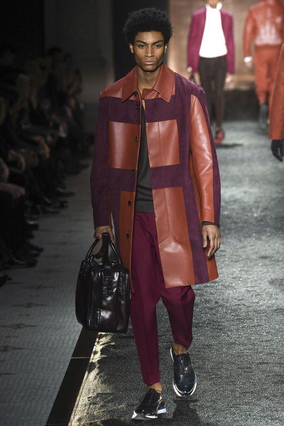 Berluti бордово-коралловое кожаное пальто с замшевыми вставками