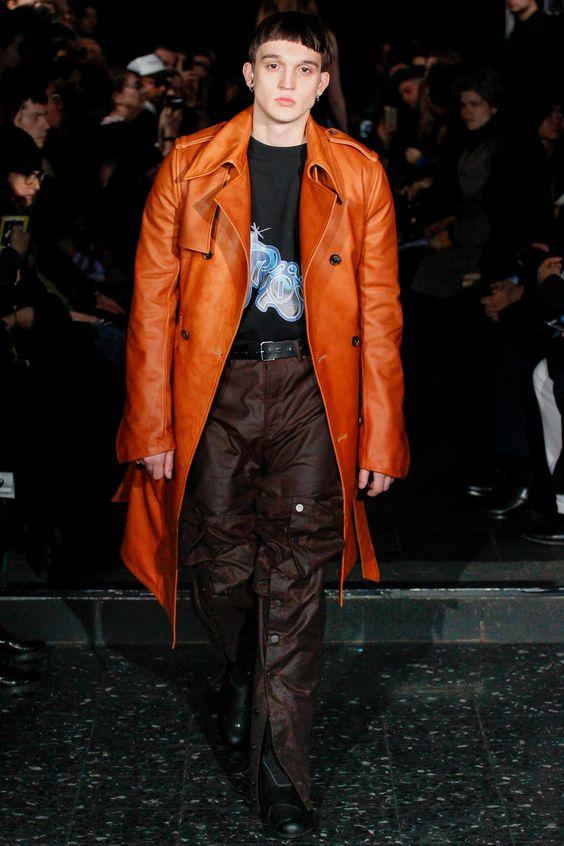 Y Project оранжевый кожаный тренч