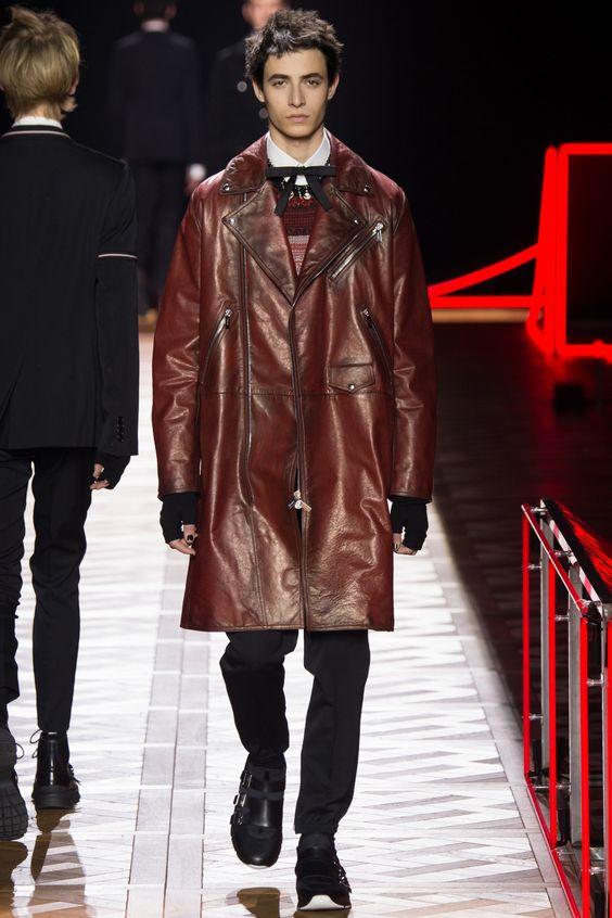 Dior Homme темно-красное кожаное пальто на молнии