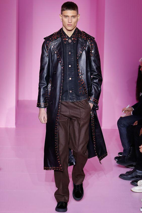 Givenchy длинный кожаный плащ