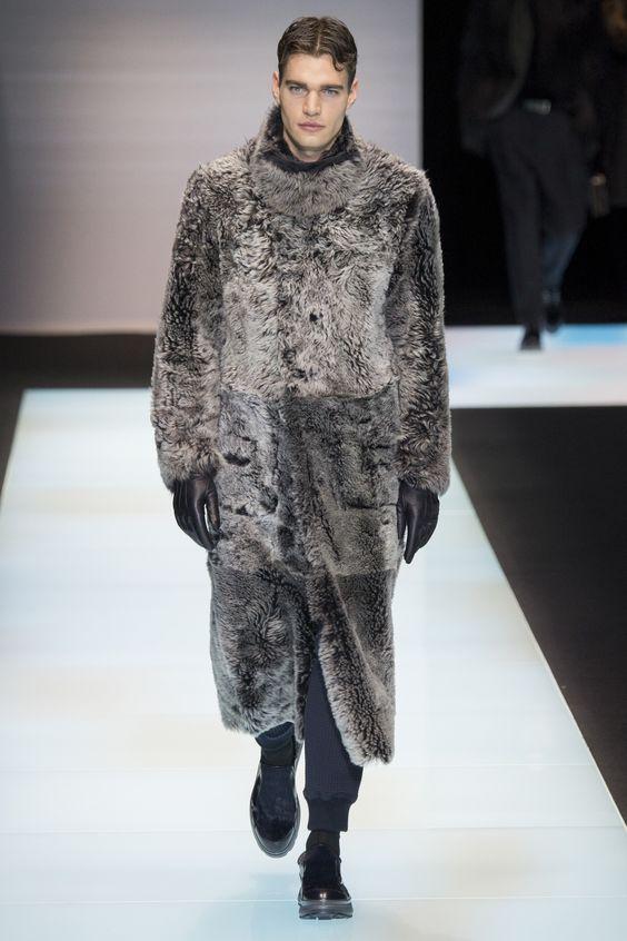 Giorgio Armani длинная серая мужская шуба