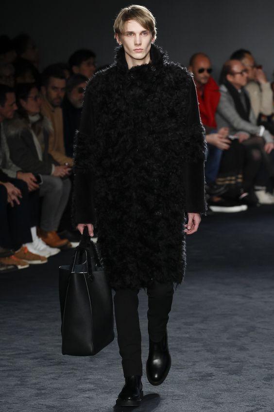 Jil Sander черная шуба мужская