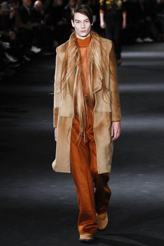 Ann Demeulemeester рыжее меховое пальто мужское