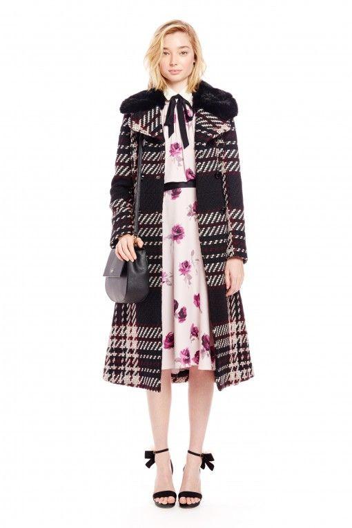 Kate Spade черно-розовое клетчатое пальто с меховым воротником