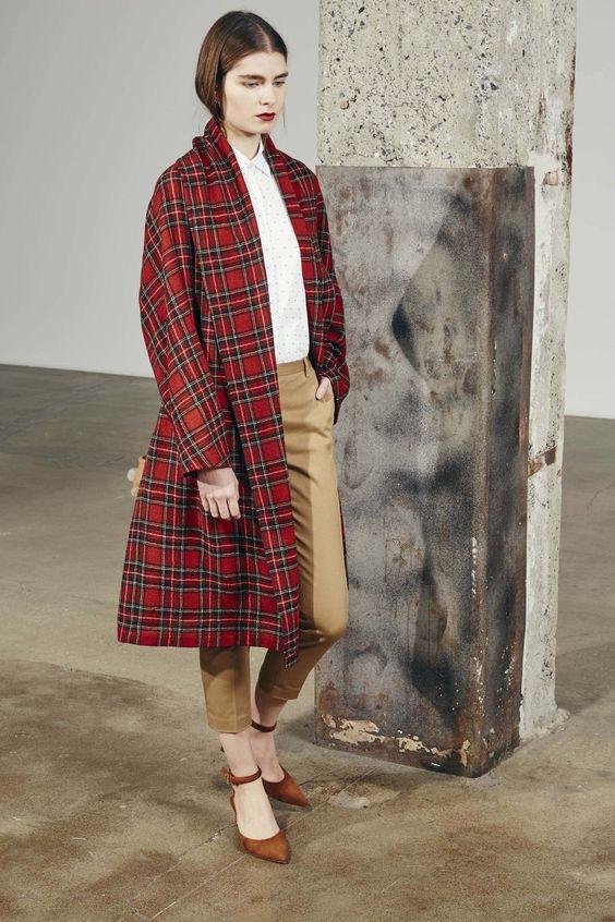 Rosetta Getty красное пальто в клетку тартан