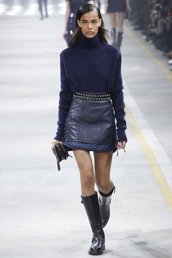 Кожаные юбки осень-зима 2016-2017  (11)