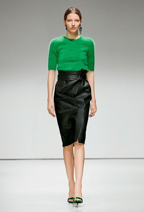 Кожаные юбки осень-зима 2016-2017  (12)