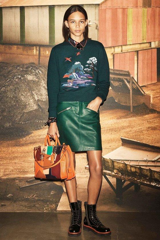 Кожаные юбки осень-зима 2016-2017  (8)