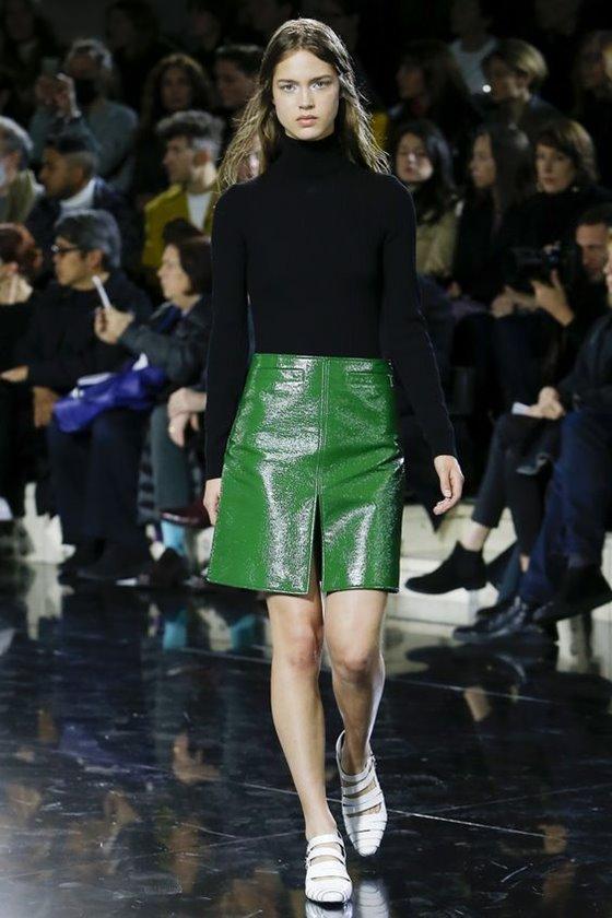 Кожаные юбки осень-зима 2016-2017  (9)