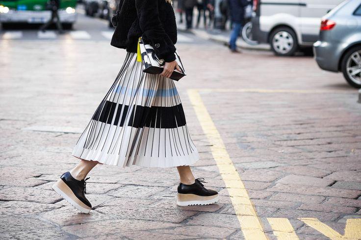 плиссированная юбка стритстайл