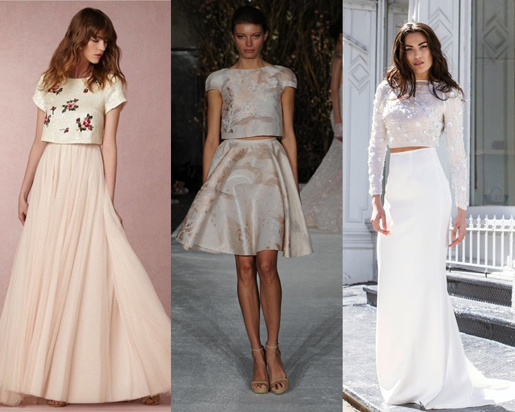 Модные свадебные платья тенденции 2017: кроп-топы с юбками