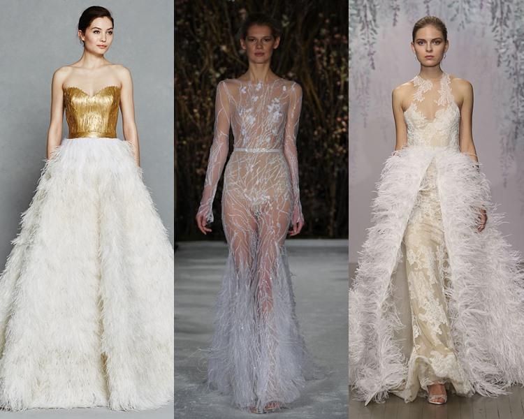 Модные свадебные платья тенденции 2017: отделка перьями