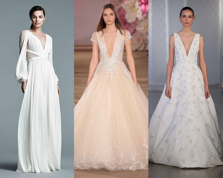 Модные свадебные платья тенденции 2017: глубокий V-образный вырез