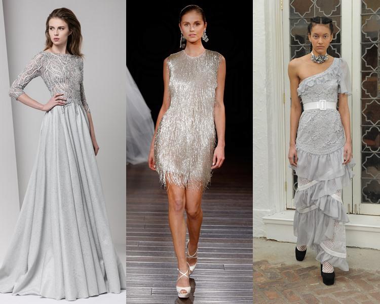 Модные свадебные платья тенденции 2017: серебристый металлик
