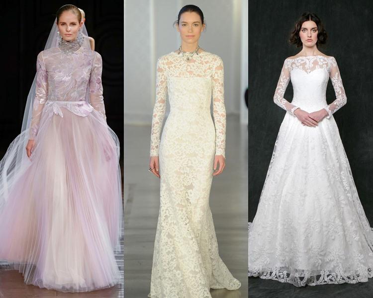 Модные свадебные платья тенденции 2017: закрытое декольте