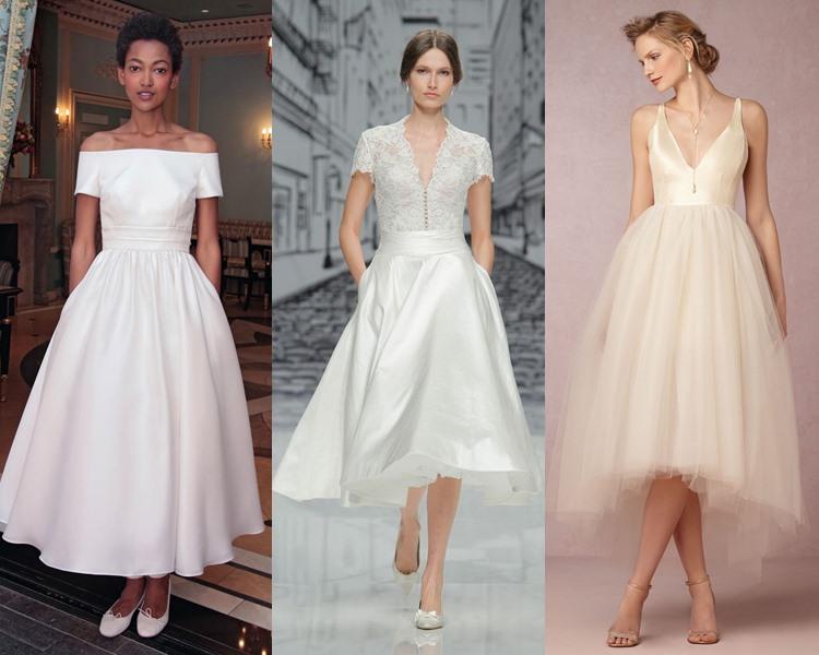 Модные свадебные платья тенденции 2017: приталенный силуэт и чайная длина юбки
