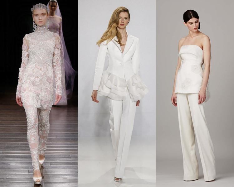 Модные свадебные платья тенденции 2017: костюмы с брюками