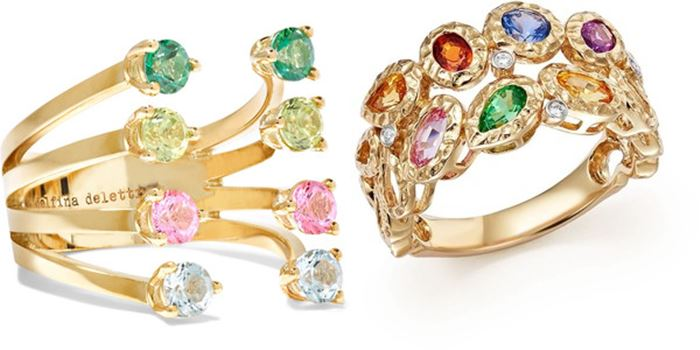 f033a8a1b707 Вы можете выбирать разноцветные кольца в стиле ар деко или с цветочным  дизайном, а также в других стилях, но непременно с модным эффектом колор  блок.