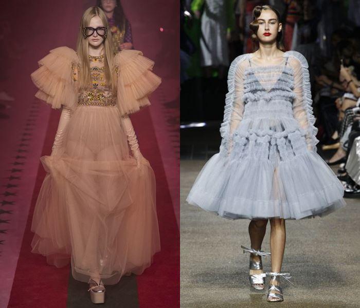 Тенденции моды весна-лето 2017: тюлевые платья с оборками