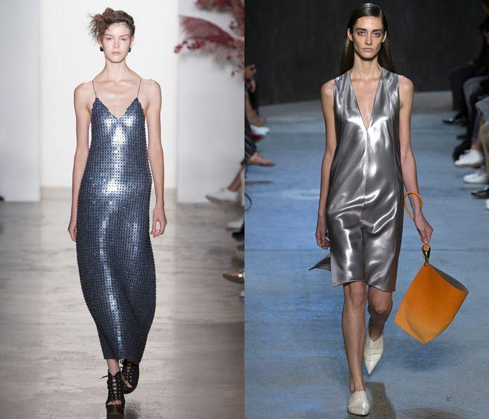Тенденции моды весна-лето 2017: серебристые металлические платья
