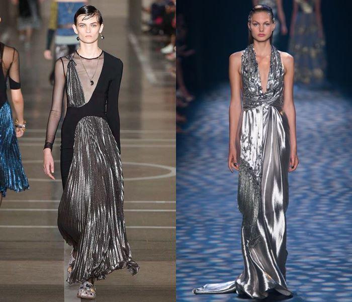 Тенденции моды весна-лето 2017: длинные серебряные платья