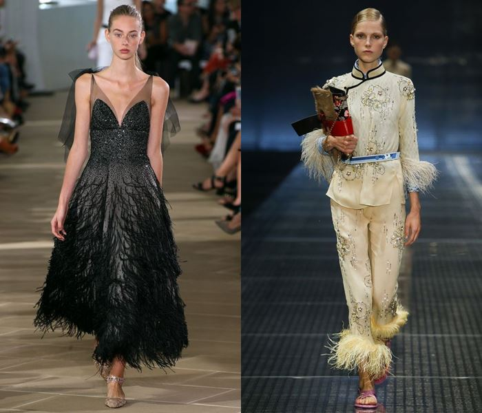 Тенденции моды весна-лето 2017: отделка перьями