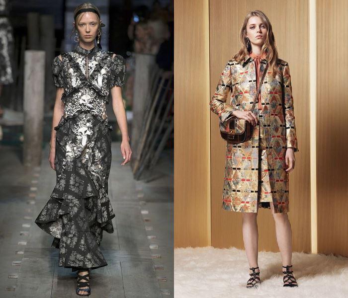 Тенденции моды весна-лето 2017 позолоченная парча
