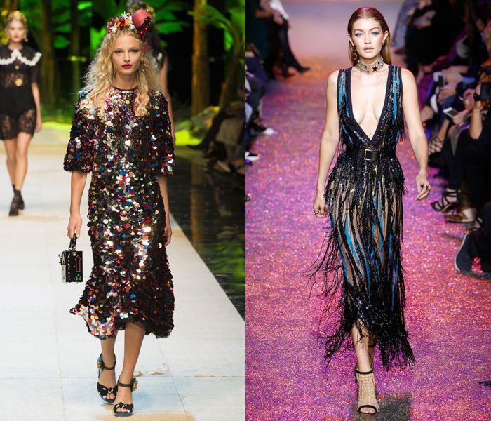 Тенденции моды весна-лето 2017: черные блестящие платья с пайетками