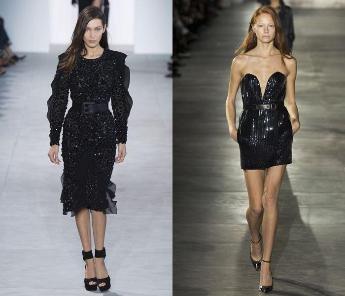Тенденции моды весна-лето 2017: черные коктейльные платья с пайетками