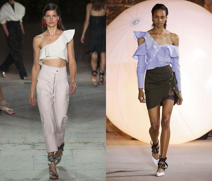 Тенденции моды весна-лето 2017: топы с воланами на одно плечо
