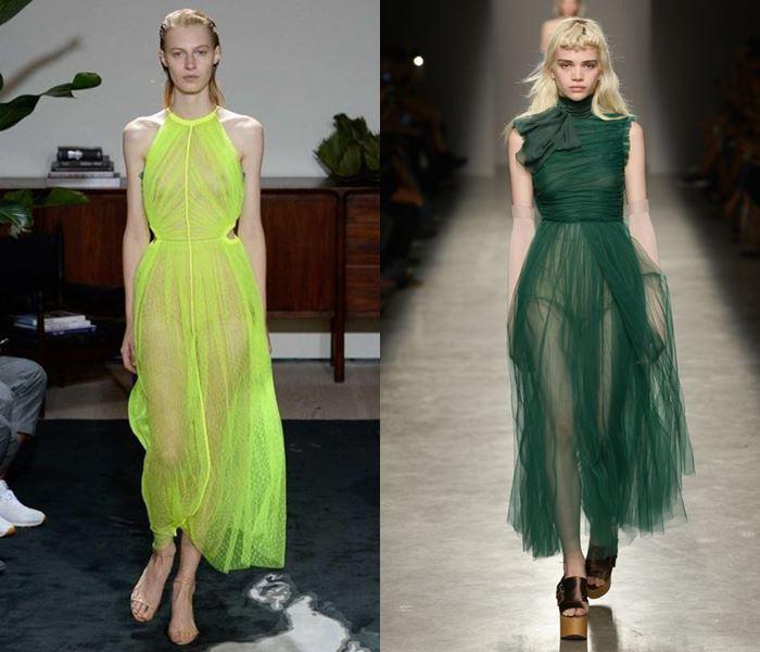 Тенденции моды весна-лето 2017: зелёные прозрачные платья