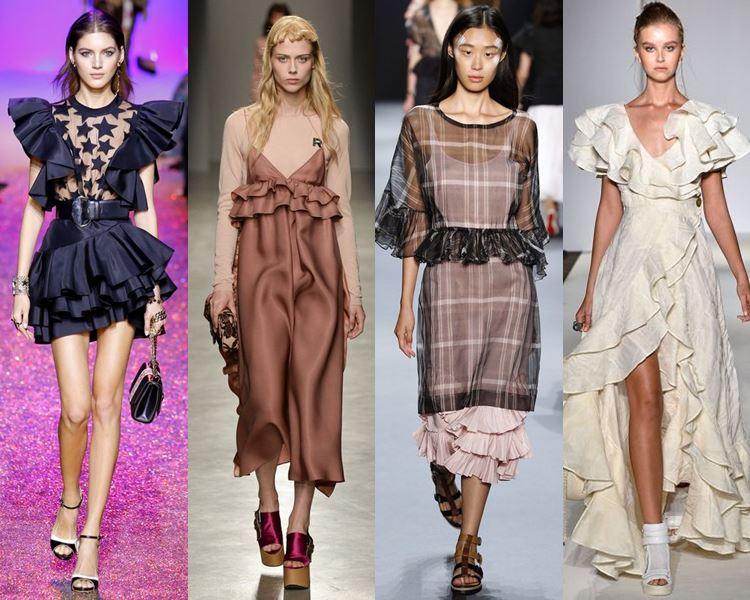 Фасоны и стили платьев 2017: с рюшами, воланами и оборками