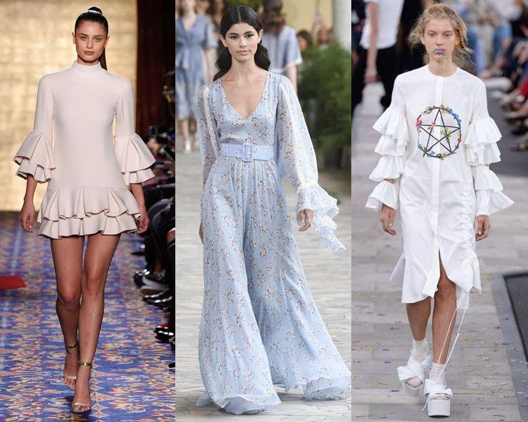 Фасоны и стили платьев 2017: расклешённые рукава
