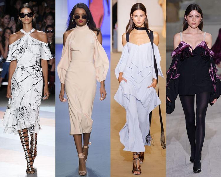Фасоны и стили платьев 2017: открытые обнажённые плечи