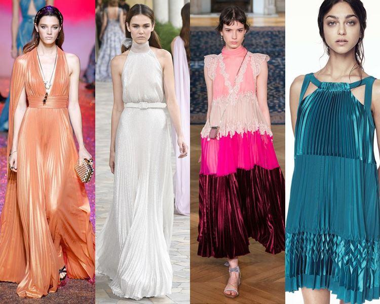 Фасоны и стили платьев 2017: складки и плиссировка