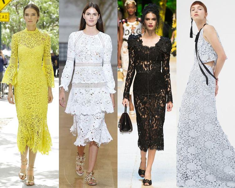 Фасоны и стили платьев 2017: летние кружевные