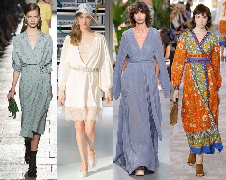 Фасоны и стили платьев 2017: халаты с запахом