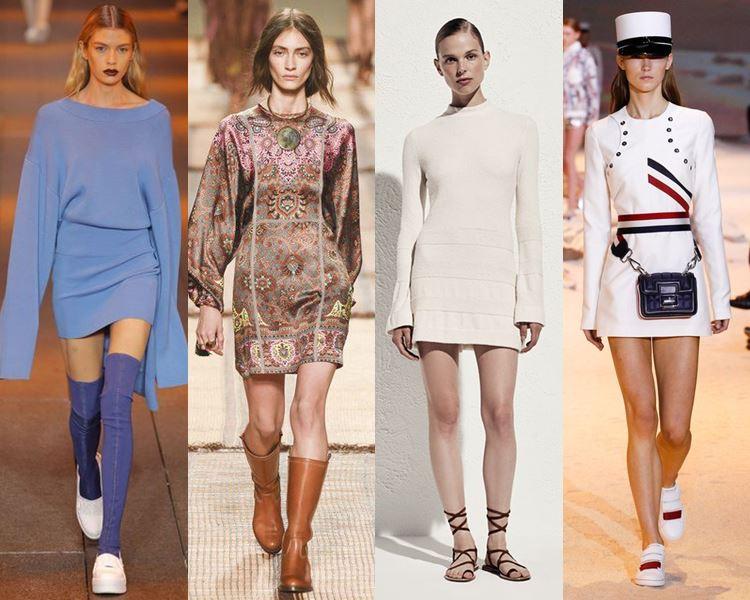 Фасоны и стили платьев 2017: короткие с длинным рукавом