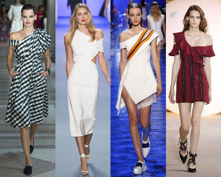 Фасоны и стили платьев 2017: на одно плечо