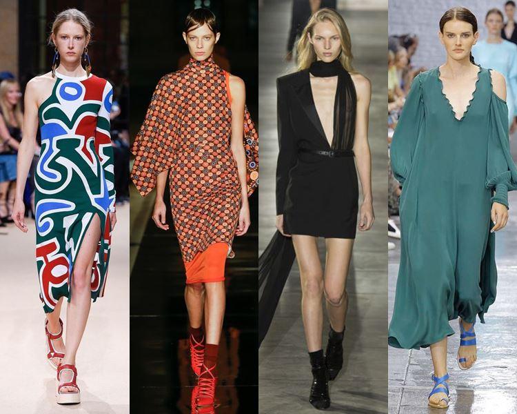 Фасоны и стили платьев 2017: асимметричные на одно плечо