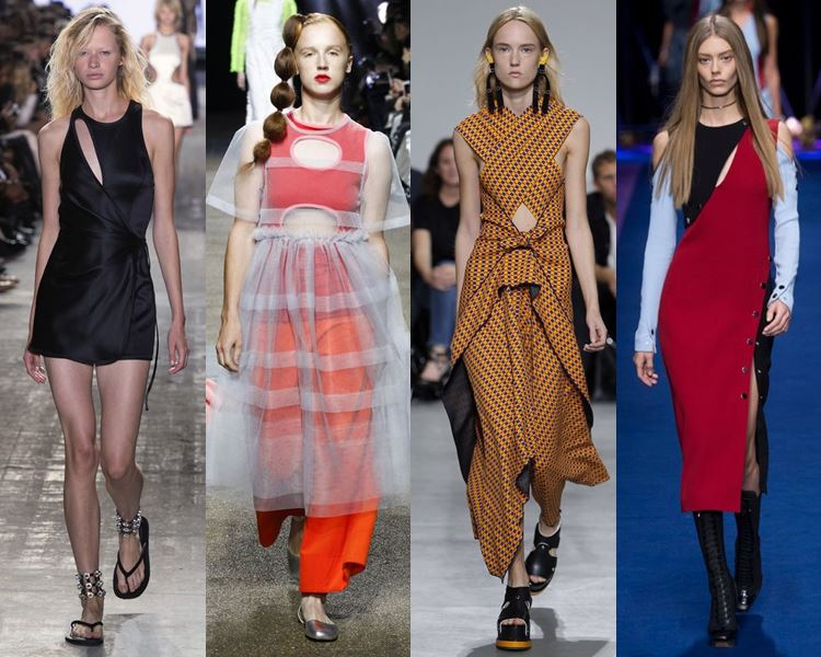 Фасоны и стили платьев 2017: с вырезами и прорезями