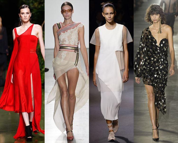 Фасоны и стили платьев 2017: авангардные асимметричные