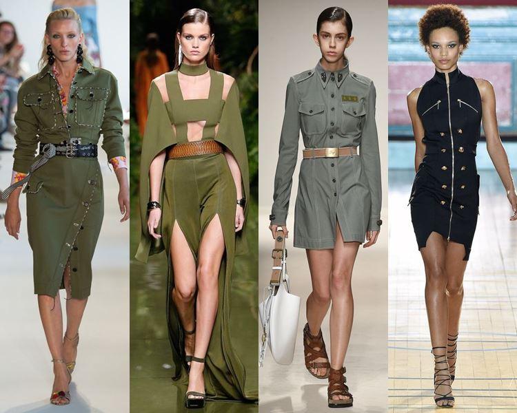 Фасоны и стили платьев 2017: милитари
