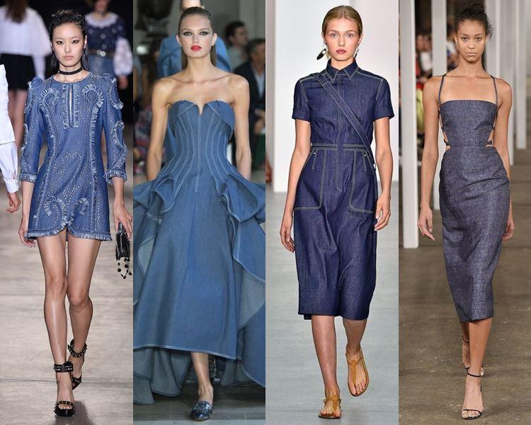 Фасоны и стили платьев 2017: джинсовые