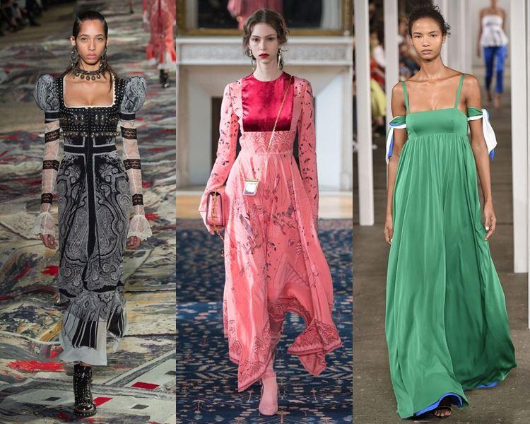 Фасоны и стили платьев 2017: старинные