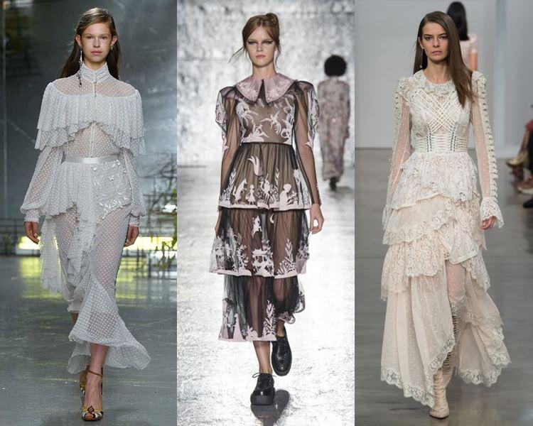 Фасоны и стили платьев 2017: многоярусные викторианские