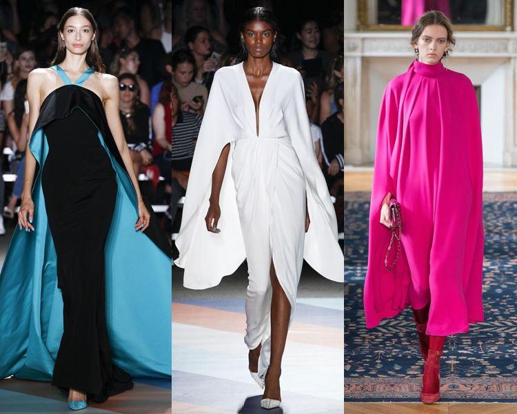 Фасоны и стили платьев 2017: кейпы и шлейфы