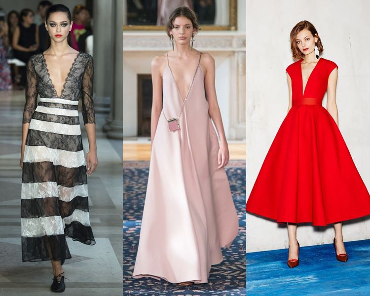 Фасоны и стили платьев 2017: глубокий V-образный вырез декольте