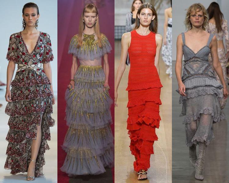 Фасоны и стили платьев 2017: многослойные и многоярусные