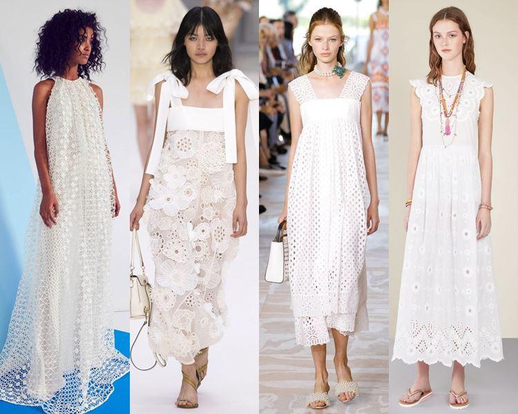 Фасоны и стили платьев 2017: белые летние перфорированные